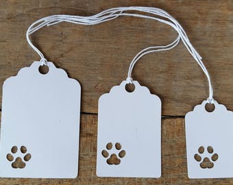 50 Paw print tags with string, gift tags, price tags, tags, birthday tags, Christmas tags
