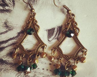 """Bohemian Chic"" rhinestones and green crystal earrings"