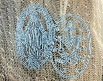 Embroidered Miraculous Medal Chapel Veil | Mantilla | Free Carry Pouch | Catholic Veil | Embroidered Veil | Lace Veil | The Veiled Woman