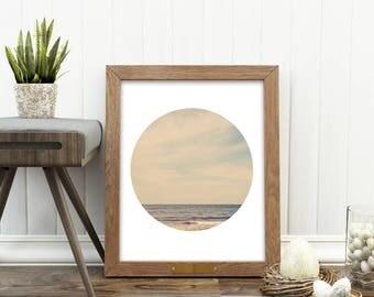 ocean print, beach photography, digital download, nautical print, boys room decor, beach house wall art, landscape photography, circle print