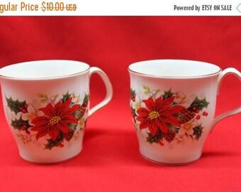 July 4th SALE Vintage Set of 2 Christmas Poinsettia Mugs