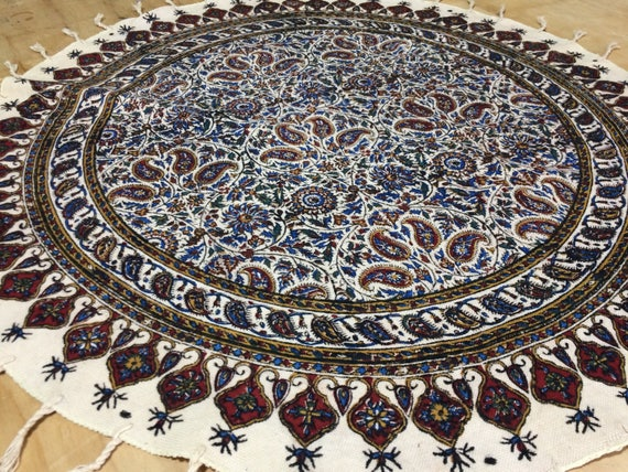 """round tablecloth, 24"""" floral table top, natural cotton tablecloth , paisley pattern , table top , traditional tablecloth , qhalamkari"""