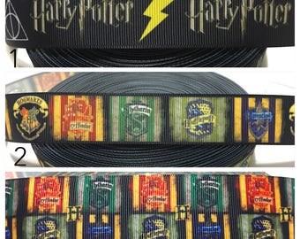 Harry Potter Ribbon, Hogwarts Ribbon, Grosgrain Ribbon for bows,Gryffindor Ribbon, Ravenclaw Ribbon,Hufflepuff ribbon,Slytherin Ribbon
