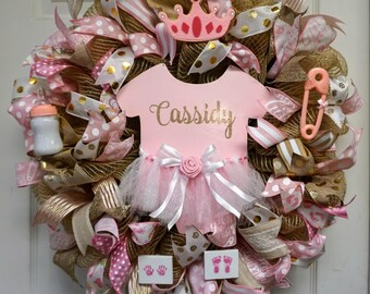 Gold and Pink Baby Wreath, Baby Shower Wreath, Baby Girl Wreath, Girl Wreath, Baby Gift, Baby Door,It's A Girl Wreath, Hospital Wreath