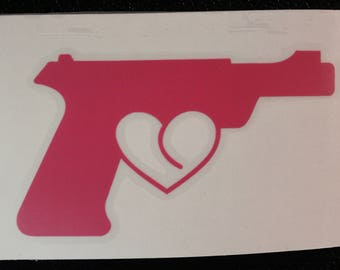 Pistol Heart Love Trigger Silhouette Decal Any Size Any Colors
