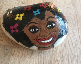 Hand painted stone, painted rock, pebble art, unique gift, paperweight, garden ornament