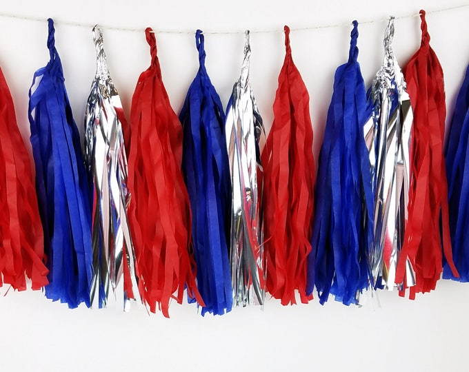 Captain America Party Supplies. Pre-Made or DIY Tassel Garland Kit for Superhero Party, Wonder Woman Party or America Party. Mantel Decor.