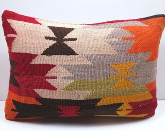 """Anatolian Turkish Kilim Pillow,Throw Pillow 20""""x14"""" Pillow,Tribal Lumbar,Rug Pillow,Sofa Pillow,Boho Pillow,Rug Cushion,Kissen,Aztec Pillows"""