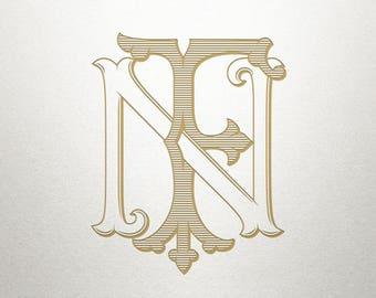 Vintage Digital Monogram - FN NF - Digital Monogram - Custom