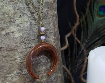 Brown Moon necklace - Crescent Moon - pearl purple glass - bronze metal beads