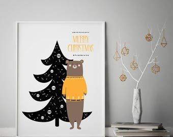 SCANDI nordic CHRISTMAS BEAR art print,  scandinavian art hygge home home posters pictures, christmas decor