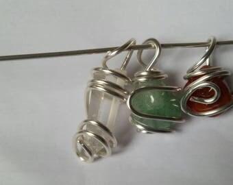 Handmade wire wrap crystal pendants