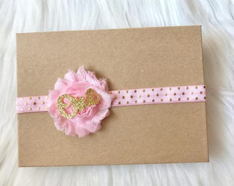 Pink and Gold Headband, 1st Birthday Headband, First Birthday Headband, Pink Baby Headband, Baby Girl Headband, Cake Smash Headband, Baby