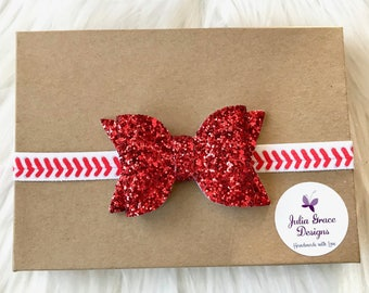 Glitter Bow Baseball Headband, Baby Headband, Newborn Headband, Infant Headband, Baseball Bow, Baseball Baby Headband, Toddler Headband