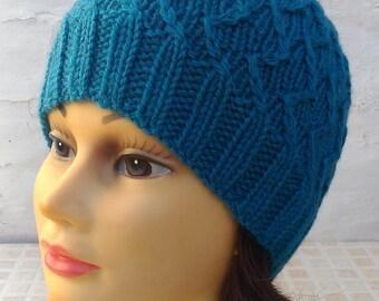 Zig zag blue jean hand knit hat