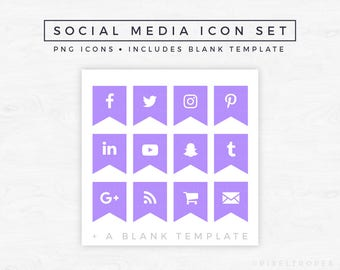 Social Media Icons // Ribbon Icons, Blog Graphics, Icon Pack, Social Media Clipart, Blogger Graphics, Blogger Icons [Instant Download]