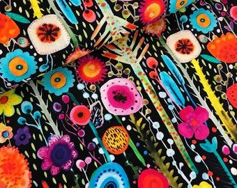 Multi Color Abstract Floral Stems Digitally Printed Cotton Fabric from the Printemps Collection by Sylvie Demers for P & B Textiles