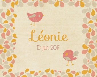 Birds and petals of Rose and yellow birth announcement