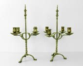 Antique Brass Candlebras  Pair of Arts  Crafts brass candlebras  Candlesticks x 2  table decoration  tableware