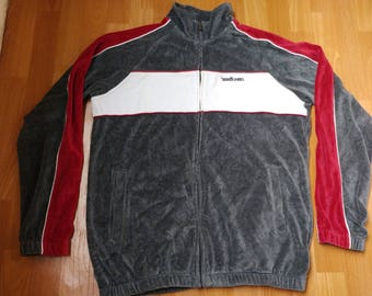 ECKO UNLTD jacket, vintage Ecko jacket of 90s hip-hop clothing, 1990s hip hop velour track jacket, gray, og gangsta rap, size L Large