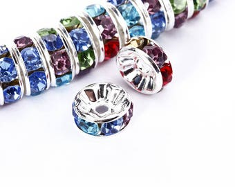 Multi-Color Rhinestone Rondelle Spacer 50pcs Per Bag Size 4mm/6mm/8mm/10mm.Sale by Bag For Jewelry Making