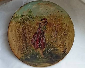 Antique Victorian Oil Painting Girl Picking Wild Flowers, Signed