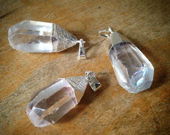 1 - Clear Crystal Pointer Pendant Charm Sterling Silver Plated Gemstone Jewelry Supplies (T010) 50DFL