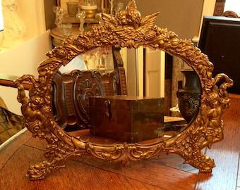 Vintage Brass Cherub Vanity Mirror