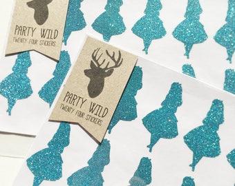 Alice in Wonderland Stickers Pk24 - Glitter Blue