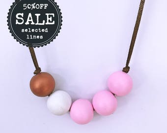pink, white and copper hand painted wooden bead necklace