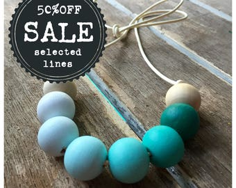 ombre mint green painted wooden bead necklace