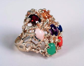 Gigantic 1970s 14K Yellow Gold Multi Colored Stone Ring, Size 8.25