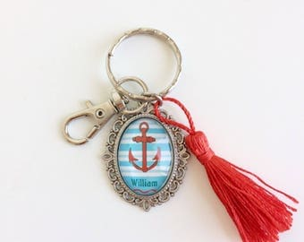 Cabochon Keychain bag charm - anchor Navy/Red