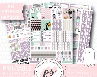 Hey Boo! Halloween Full Weekly Kit Printable Planner Stickers | JPG/PDF/Silhouette Cut Files | For Use with Mini Happy Planner