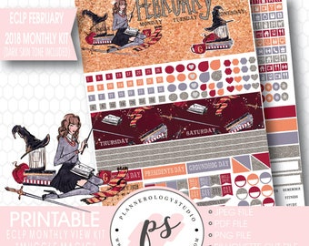 Muggle Magic February 2018 Monthly View Kit Printable Planner Stickers (Dark & Light Skin Tone) (for ECLP) |JPG/PDF/Silhouette Cut File
