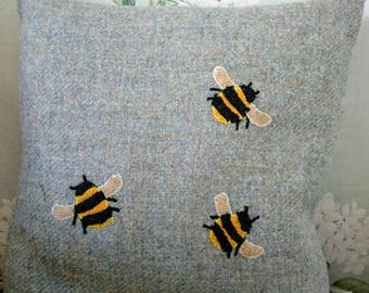 SALE Hand Crafted Harris Tweed bee cushion cover