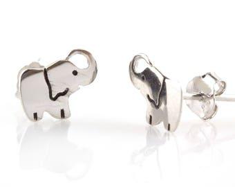 925 Sterling Silver Lucky Elephant Earrings Ear Studs