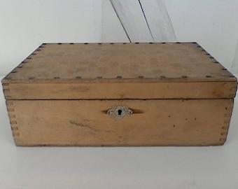 Vintage blond wood tool box.