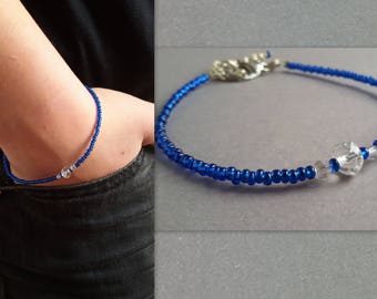 Blue Bracelet, Crystal Bracelet, Seed Bead Bracelet, Friendship Bracelet, Minimal Bracelet, casual bracelet