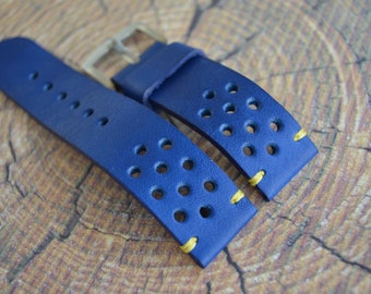 Thick Rally racing tapered Tan cowhide leather watch strap/ mens Blue wrist watch band/ 19mm 20mm 21mm 22mm 23mm 24mm