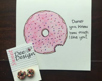 Funny Handmade Donut Valentine's Day Card with Earrings