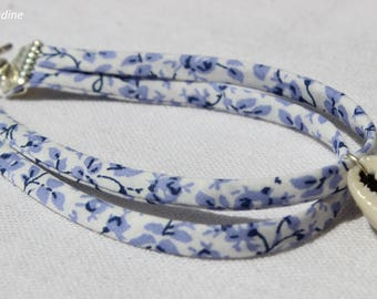 Bracelet liberty floral Ribbon and shell, gift idea party a grand mothers, Easter