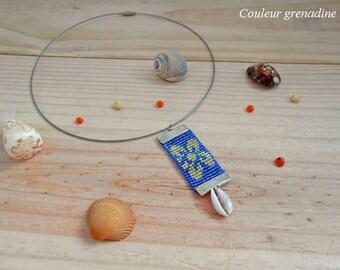 Choker necklace woven beads miyuki shell tiare flower