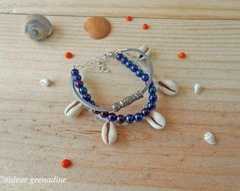 Multi strand Pearl and shell bracelet