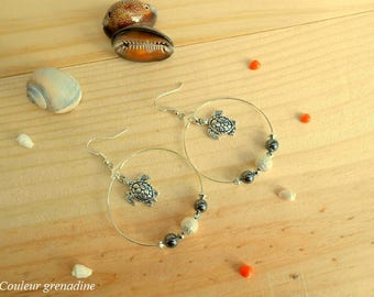 Hoop earrings, turtle, silver hematite gemstone, gift idea party a grand mothers, Easter