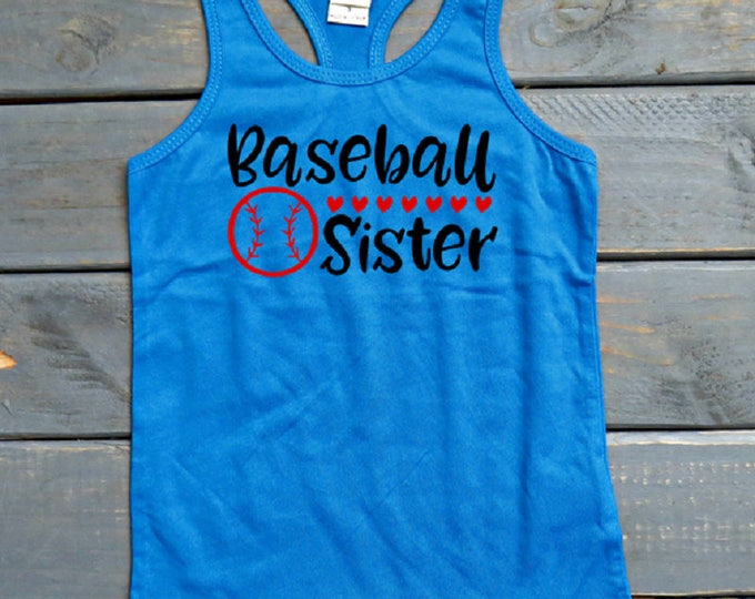 Baseball Sister Tank, Baseball Fan, Little Sister Shirt, Big Sister Shirt