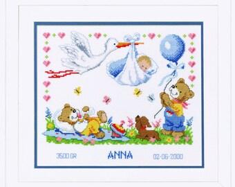 Vervaco Cross Stitch Kit New Arrival Birth Record 2002\70.732