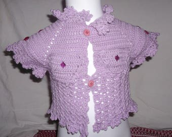 Purple jacket without sleeves 3/9 months in the fancy stitch and crochet pockets