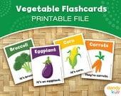 Vegetable Flashcards / Printable Flashcards / Set of 15 / Educational Flashcards