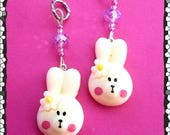 Hearing Aid Charms:  Super Sweet Easter Bunnies with Czech Glass Accent Beads!